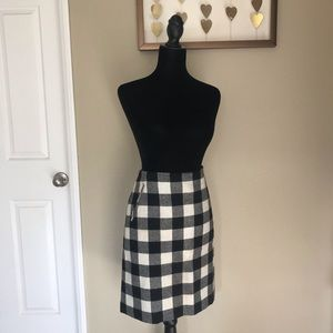 Talbots Buffalo Check Black and White Wool Skirt